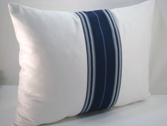 White And Blue Lumbar Pillow Blue Stripe Pillow Lumbar Pillow