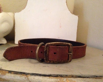 Vintage Old Leather Dog Collar