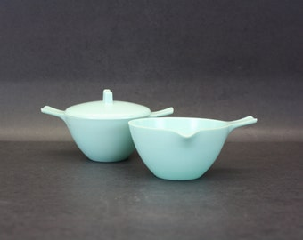 Vintage Melmac Atomic Aqua Cream & Sugar Set (E7493)