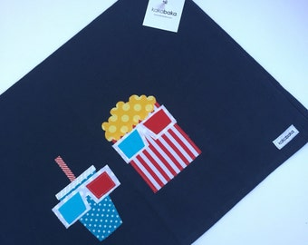 Movie Night Popcorn and Soda Kitchen Towel