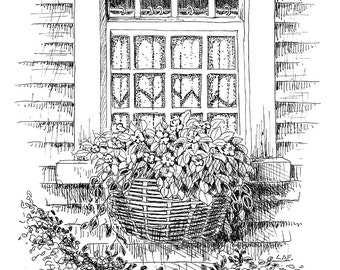 """Limited Edition Print of my Pen and Ink drawing of a  """"Country Window"""""""