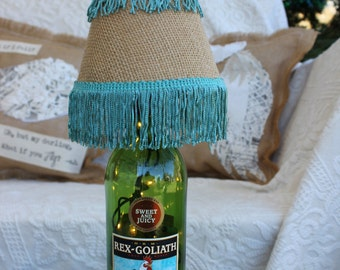 Rooster Wine Bottle Lamp Light with Burlap and Turquoise Fringe Lamp Shade / Chicken Decor / Wine Bottle Lamp/ Handmade Christmas Gift