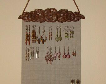 Jewelry Organizer Hanging Jewelry Holder Display      'Bloom' in English Chestnut