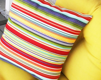 "Indoor/ Outdoor Pillow 18"" x 18"" Pillow - with or without pillow insert - Colorful Stripes"