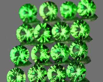 Bright Lime Green Tsavorite Faceted Rounds, Calibrated 1.5 MM , Price Per Lot Of 53 Stones,Matched, Wholesale, Natural
