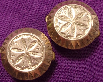 "Pair of antique  gold plated batchelor buttons/studs ""West's Patent"" (Ref A02)"