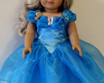 Sparkly Cinderella butterfly dress for American Girl and similar 18 inch dolls