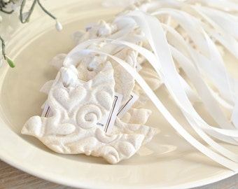 Personalized Imprinted Wedding / Baptism Silhouette Dove Salt Dough Ornaments Set of 6