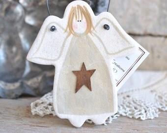 White Angel Salt Dough Kitchen Decor or Friendship Gift