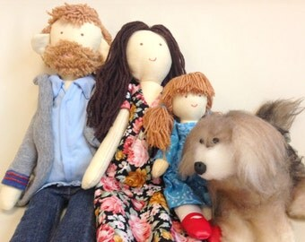 Handmade custom family dolls, personalized dolls, Gift, Christmas gift, Birthday gift, Present, Rag doll, Selfie doll, Look alike doll