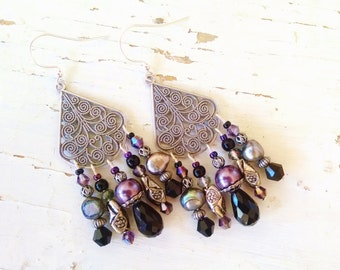 Gunmetal chandelier earrings with purple and gray pearl and black crystal