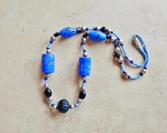 blue beaded necklace,  Blue Ceramic and Black Bone Necklace