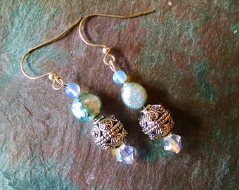 Pale Blue pearl earrings with silver opal and white crystal