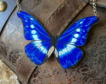 Rhetenor Blue Morpho Butterfly Original Art Necklace Morpho Rhetenor Helena