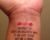 ON SALE 10 Bachelorette Party Temporary Tattoos, Buy Me A Drink & Bride Tattoo - Custom Hen Stag Party