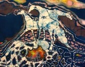 "Horses Cutting Board - Crossroad  - Spirit Horse collection. -  Detail from original batik by Carol -  8"" x 11"""