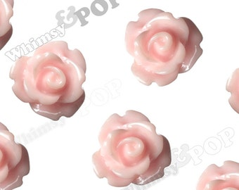 Light Pink Rose Cabochons, Flower Cabochons, Flower Cabs, 10mm Rose Cabochons, Flat Back Roses, 10mm x 6mm (R1-058)
