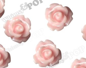 Light Pink Rose Cabochons, Flower Cabochons, 10mm Rose Cabochons, Flat Back Roses, 10mm x 6mm (R1-058)