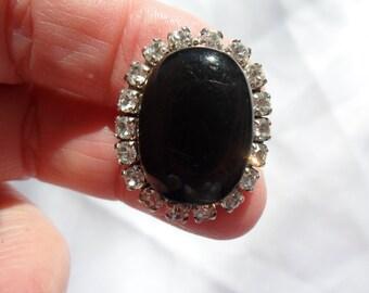 Authentic Vintage Black and Clear Rhinestone Pierced Earrings WEDDING PROM BRIDE Bridesmaid