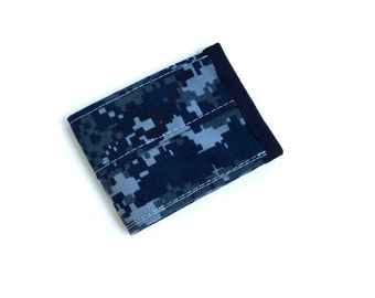 Slim Nylon Wallet in Blue Digital Camo - Vegan Wallet - Minimalist Billfold