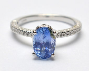 Blue sapphire engagement ring Untreated sapphire in a white gold diamonds ring SKU- JOANNA 2519