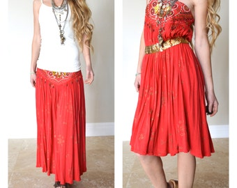 Bollywood Gypsy Girl Vintage Skirt or Strapless Dress Convertible Beaded Bejeweled Red Soft Stretchy Jersey Henna Print Small Medium
