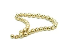 Bead Choker Necklace. Polished Gold Metal Beads. 1960s Vintage Retro Jewelry. Graduated Gold Tone Metal.