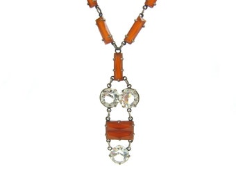 Art Deco Necklace. Carnelian and Rock Crystal Lavalier. Open Backs. Antique Sterling Silver Jewelry. Vintage 1920s Art Deco Jewelry.