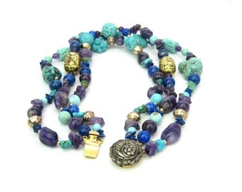 Turquoise Beads Necklace. Amethyst & Lapis Lazuli Gemstones. Chunky, Multi Strand Choker. Asian Style Accents.  Vintage Statement Jewelry