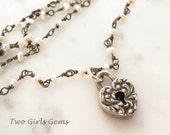 Victorian Padlock, Heart Padlock Necklace, Seed Pearl Chain with Repousse Heart