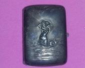 Vintage Antique Art Nouveau Vesta Match Safe Card Case Cigarette Holder Woman bathing estate
