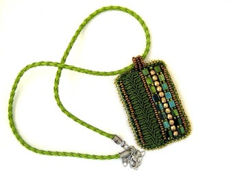 Olive green beaded pendant necklace, Bead embroidered necklace, Green pendant, Green necklace, Unique gifts for womens