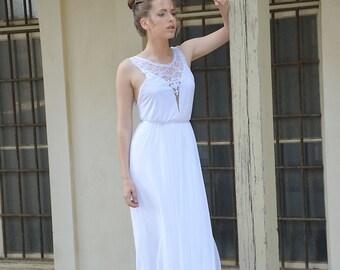 Boho wedding dress, lace collar, open back lace wedding dress