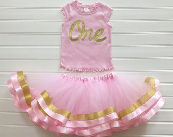 Gold Number ONE Cap Sleeve Shirt Custom Top With TUTU