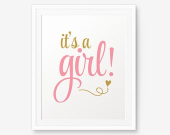 Printable It's a Girl, Girl Nursery Printable, Girl Room Decor, Girl Nursery Art, Baby Girl Shower Sign Art Printable