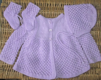 Newborn baby's infant girl traditional handknitted mauve lacy lace matinee jacket and bonnet / hat with booties pram outfit set