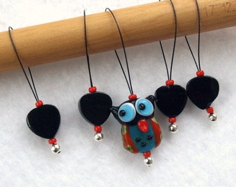 owl stitch markers, snag free, lampwork glass beads