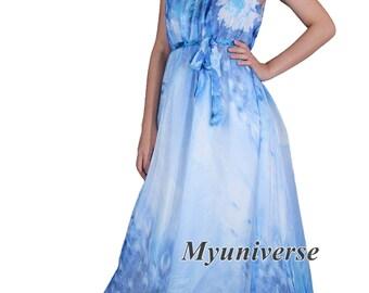 White Dress Peacock Dress Maxi Dress Women Plus Sizes Clothing Floral Dress Casual Beach Party Wedding Guest Blue Chiffon Summer Sundress