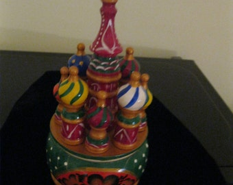 St. Basil Cathedral box - All wood Hand  crafted in Russia.  Great detail and colors. Shipped From Usa worldwide.