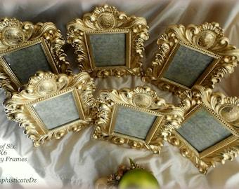 "New! ""Set of 6"" Brilliant Gold Ornate Frames,French/Baroque Wedding Decor, 4x6 Frames,Formal,Nursery,Paris,Vintage Party Decor,Rococo,Glam"
