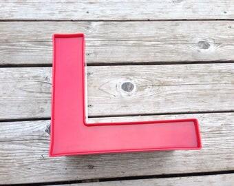 L - Reclaimed vintage letter - excellent - gloss red