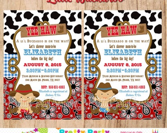 LITTLE BUCKAROO Baby Cowboy invitation - first birthday or baby shower - YOU print - 2 to choose
