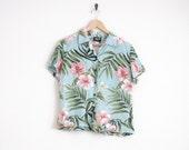 hawaiian shirt. 90s shirt. sky blue shirt with fern & floral print. button down shirt. unisex mens vintage. ironic dad shirt. hipster shirt.