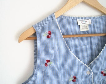 Vintage 1990s Blue Gingham Sleeveless Blouse. Cherry Embroidered Shirt with Lace Trim. Cherry Lolita Shirt. Summer Blouse.