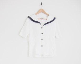 90s Sailor Blouse w/ Peter Pan Collar. Dotted Collar Handkerchief Back Collar w/ Bow. White Button Down Blouse. Japanese Schoolgirl Shirt