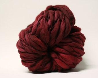 Thick and Thin Handspun Superfine Merino Wool Yarn Slub  tts(tm) Hand dyed Half-Pounder Super Bulky Merlot 0x