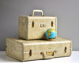 Vintage Pair of Beige Marbled Samsonite Suitcases