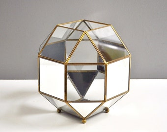 Vintage Extra Large Mirrored Brass Terrarium or Footed Planter