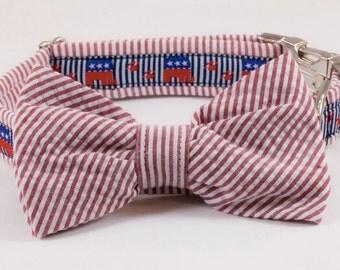 Preppy Seersucker Repuplican Dog Bow Tie Collar, Republican Dog Collar, Conservative Dog Collar, Conservative Elephant Dog Collar, GOP