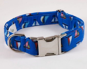 Nautical Sailboat Dog Collar